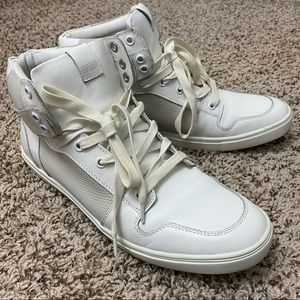 Men's Express White Grey Leather High Top Sneakers